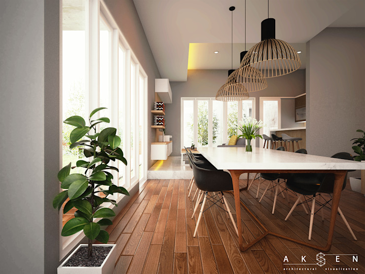 Modern dining room by aksen architectural visualization Modern Solid Wood Multicolored