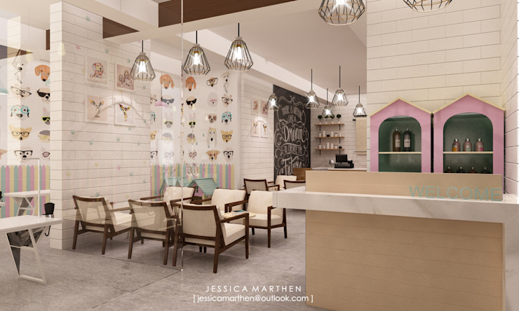 Cloudy & Cotton Pet Grooming & Coffee Shop, Lippo Mall Puri Scandinavian style dining room by JESSICA DESIGN STUDIO Scandinavian