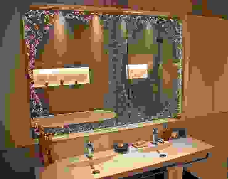 Bespoke Pattern Back Illuminated Mirror Alguacil & Perkoff Ltd. BathroomMirrors Glass
