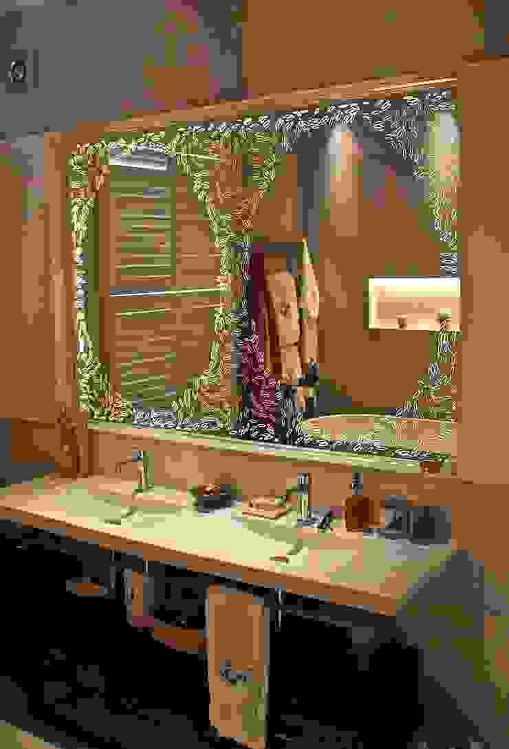 Bespoke Pattern Back Illuminated Mirror Alguacil & Perkoff Ltd. BathroomMirrors Granite