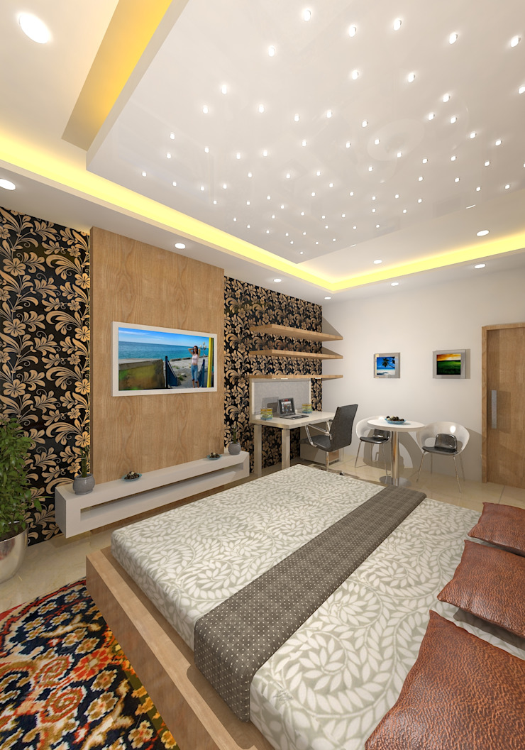 Prashant Residence Modern Bedroom by Gurooji Designs Modern