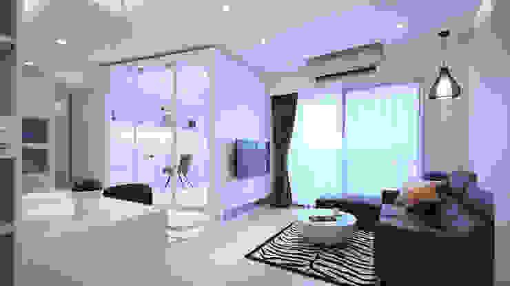 現代風格寧靜休閒風 现代客厅設計點子、靈感 & 圖片 根據 瓦悅設計有限公司 現代風