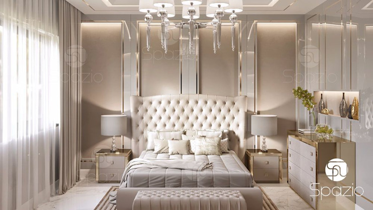 Luxury modern Master bedroom interior design and decor in Dubai 根據 Spazio Interior Decoration LLC 現代風