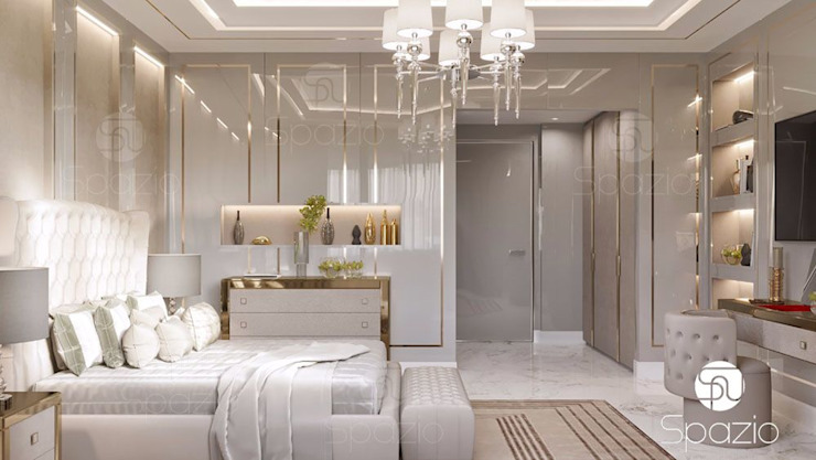 Luxury modern Master bedroom interior design in Dubai Modern Bedroom by Spazio Interior Decoration LLC Modern