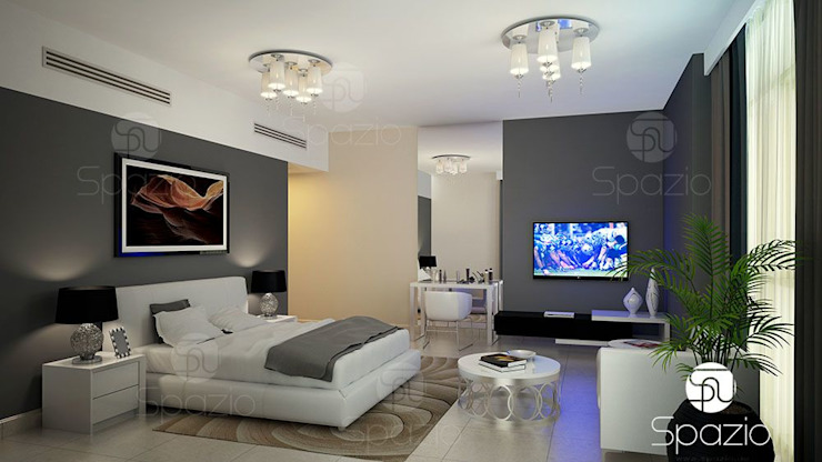 Modern master bedroom interior design in Dubai Modern Bedroom by Spazio Interior Decoration LLC Modern