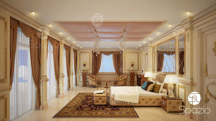 Luxury classic master bedroom interior design and decor in Dubai Classic style bedroom by Spazio Interior Decoration LLC Classic