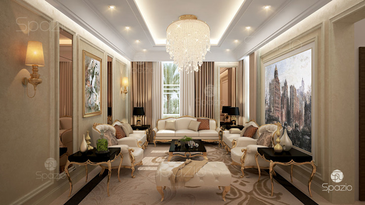 ​Luxury classic majlis interior design in Dubai Spazio Interior Decoration LLC Living room Beige