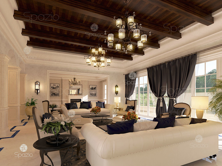 Luxury white palace interior design in Dubai Classic style living room by Spazio Interior Decoration LLC Classic