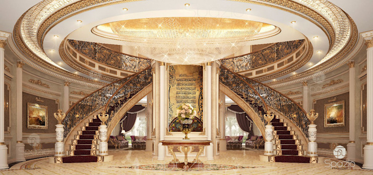 Luxury main staircase interior design of a Dubai palace Classic style corridor, hallway and stairs by Spazio Interior Decoration LLC Classic