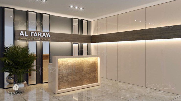 Interior design for an office reception in modern office in Dubai by Spazio Interior Decoration LLC Minimalist
