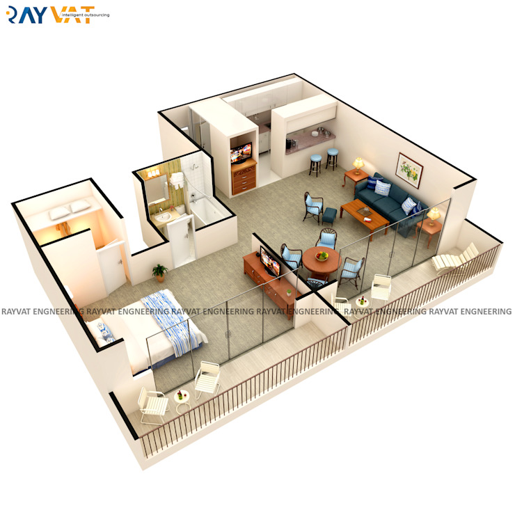 3D Interactive Floor Plans: industrial  by Rayvat Rendering Studio, Industrial