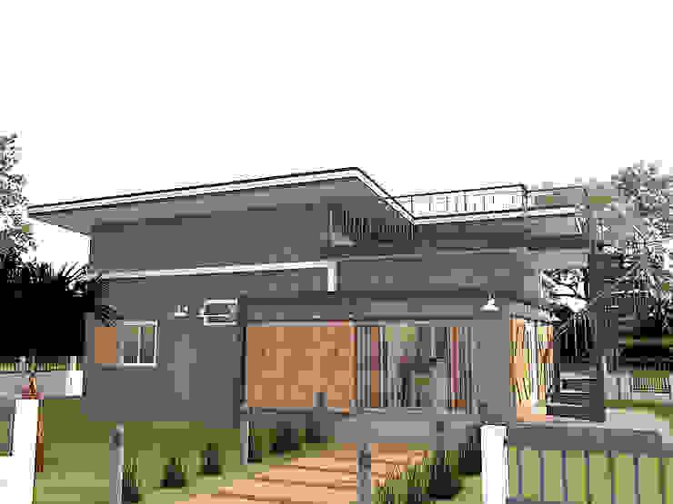 บ้านชั้นเดียวพร้อมดาดฟ้า โดย แบบบ้านออกแบบบ้านเชียงใหม่ โมเดิร์น