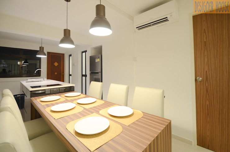 3 Room HDB Flat Knock Out Modern dining room by Designer House Modern