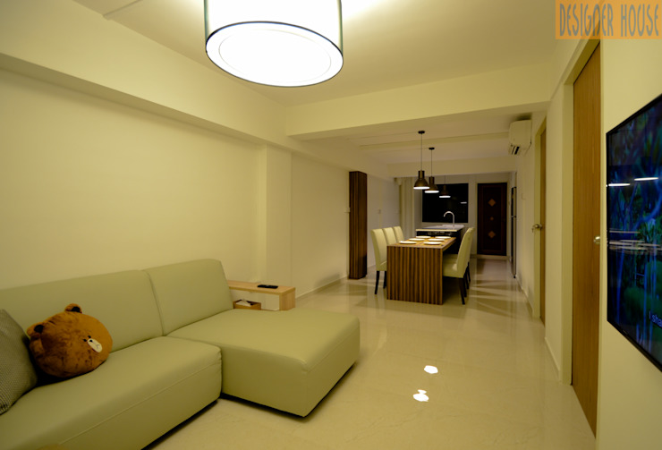 3 Room HDB Flat Knock Out Modern living room by Designer House Modern