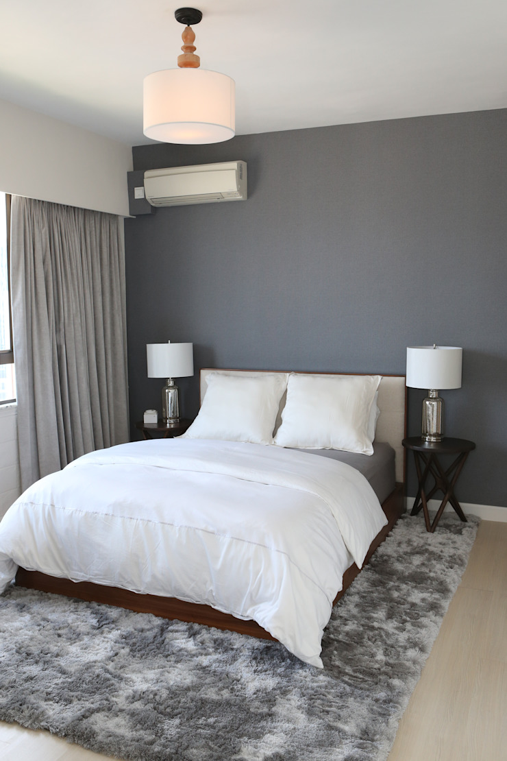 Mid-levels Flat Renovation Modern Bedroom by B Squared Design Ltd. Modern