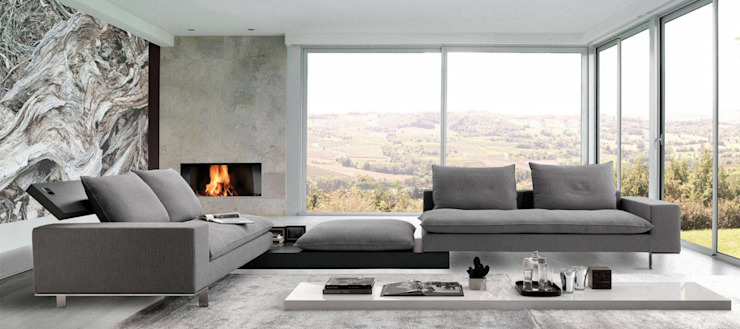 High Quality Italian Sectional Sofas : modern  by Spacio Collections,Modern Leather Grey