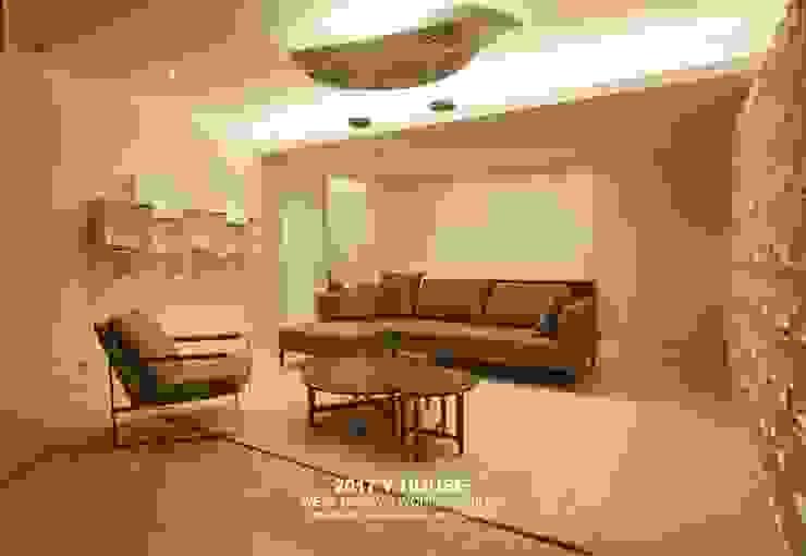 가구와 공간을 같이 계획한 인테리어: 건축일상의  거실,모던