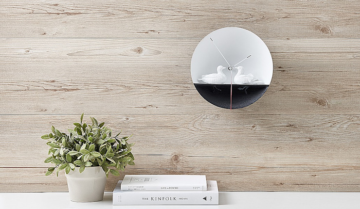 Haoshi Waterbird X CLOCK - Mandarin Duck Wall Clock: modern  by Just For Clocks,Modern Ceramic