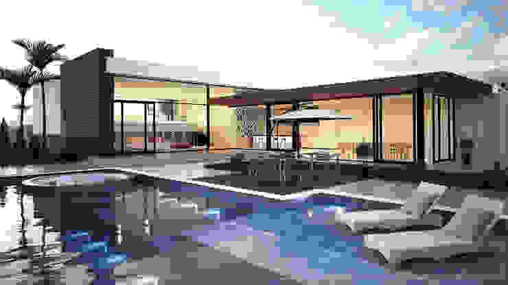 Casas Modernas 🔴 8HAUS - ARQUITETOS ASSOCIADOS 🔴 Piscinas modernas Azul