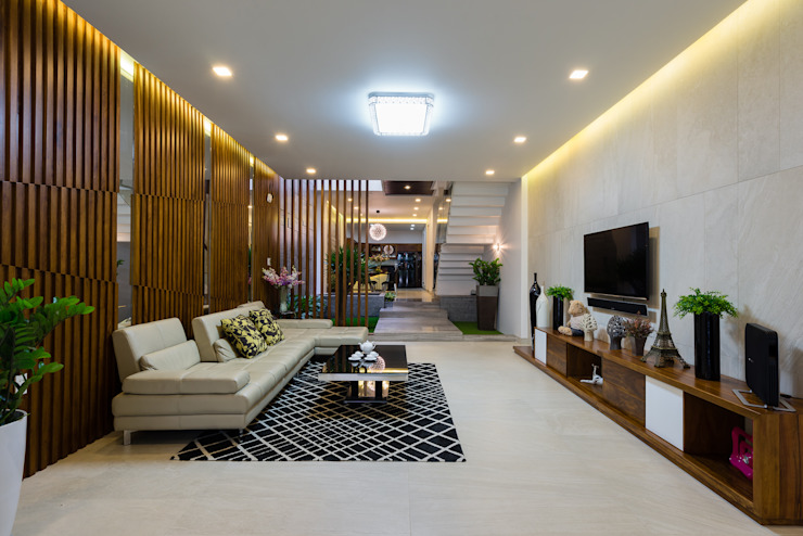 Ruang Keluarga Modern Oleh VĂN PHÒNG KIẾN TRÚC PP Modern