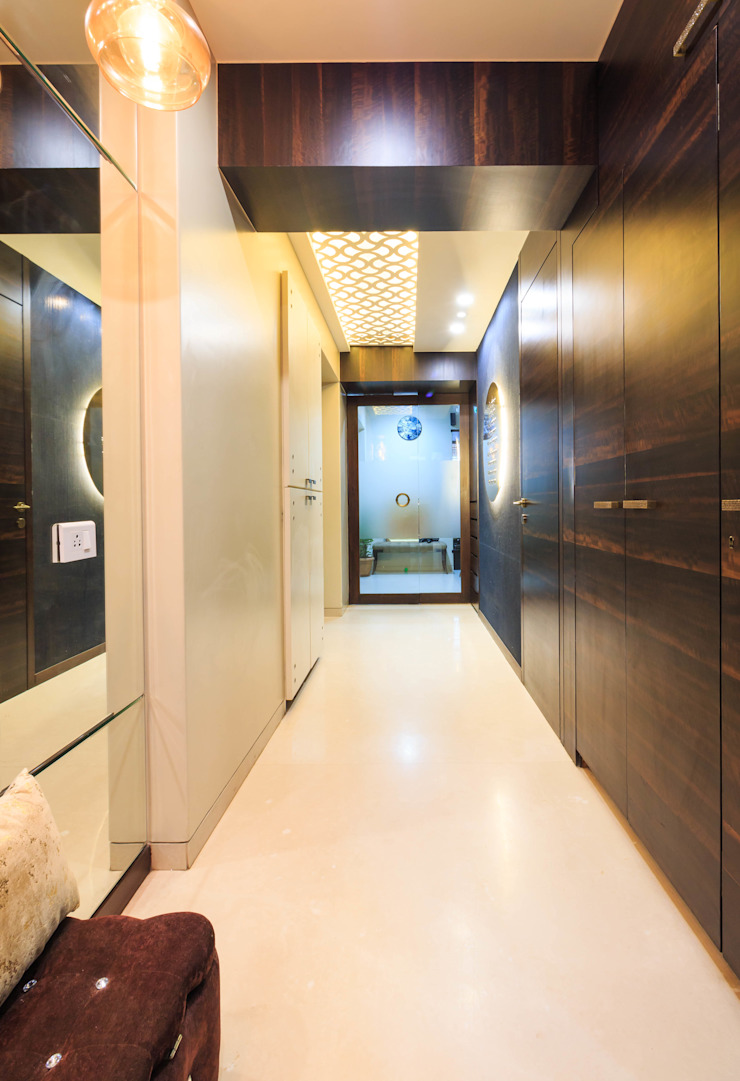 Bombay Central Residence Modern corridor, hallway & stairs by Fourth Axis Designs Modern