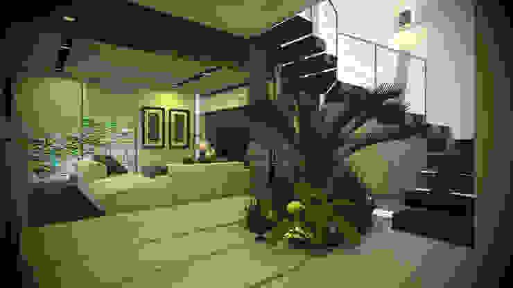 現代風玄關、走廊與階梯 根據 IMA GEN 現代風
