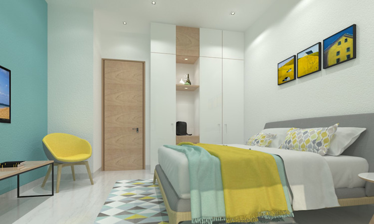 Guest Bedroom Minimalist bedroom by Ravi Prakash Architect Minimalist Engineered Wood Transparent