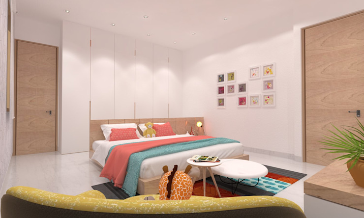 Daughter's Bedroom Minimalist bedroom by Ravi Prakash Architect Minimalist Engineered Wood Transparent