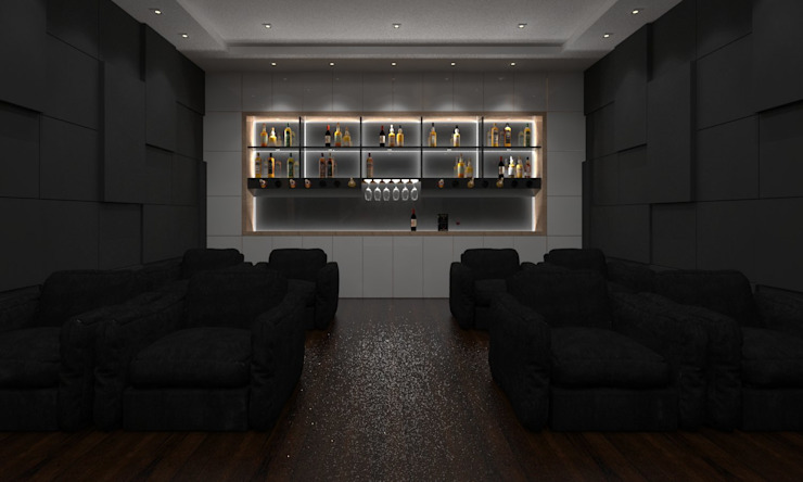 Home Theater by Ravi Prakash Architect Minimalist Engineered Wood Transparent