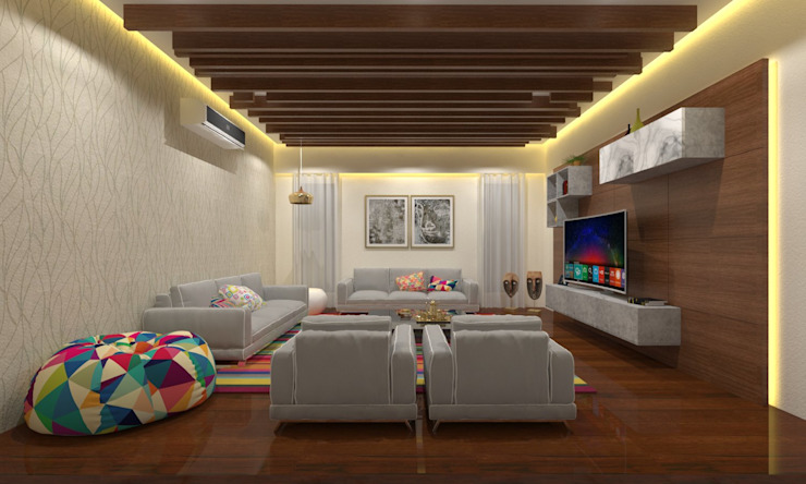 Living Room Asian style living room by Ravi Prakash Architect Asian Engineered Wood Transparent