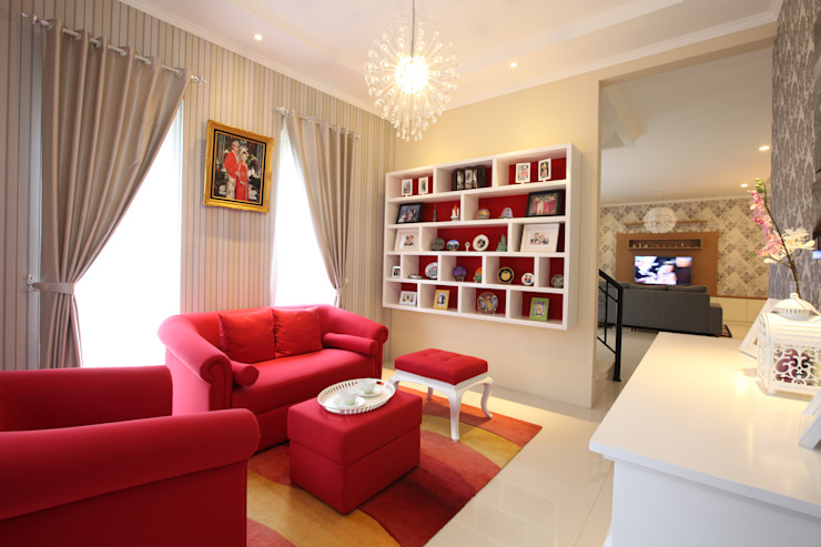 Red and white Modern Living Room by a+Plan Architect and Interior Works Modern