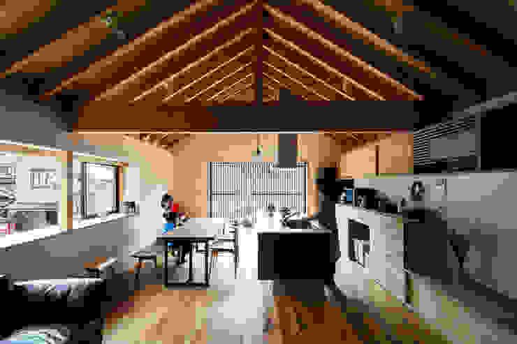 藤森大作建築設計事務所 Modern Dining Room Wood Wood effect
