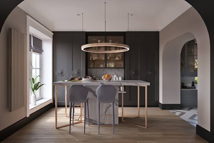 Дом на Кутузова Кухни в эклектичном стиле от Make Interiors Эклектичный Мрамор