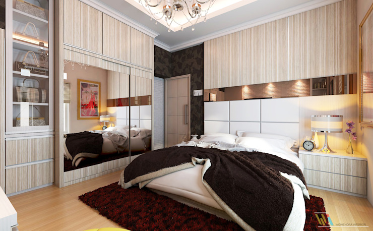Widhendra interior Modern Bedroom Plywood Wood effect