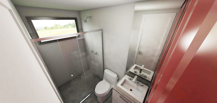 現代浴室設計點子、靈感&圖片 根據 Petillo Arquitetura 現代風 MDF