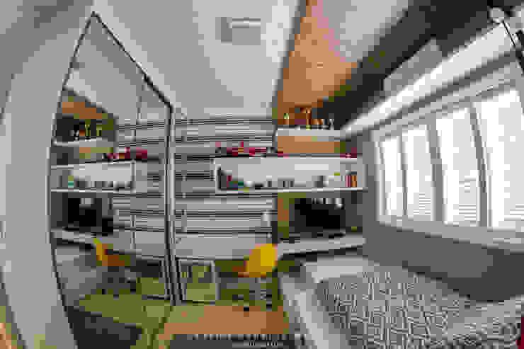 Dormitório de Adolescente Cadu Martins Arquiteto e Urbanista Quarto infantil moderno Derivados de madeira Cinza
