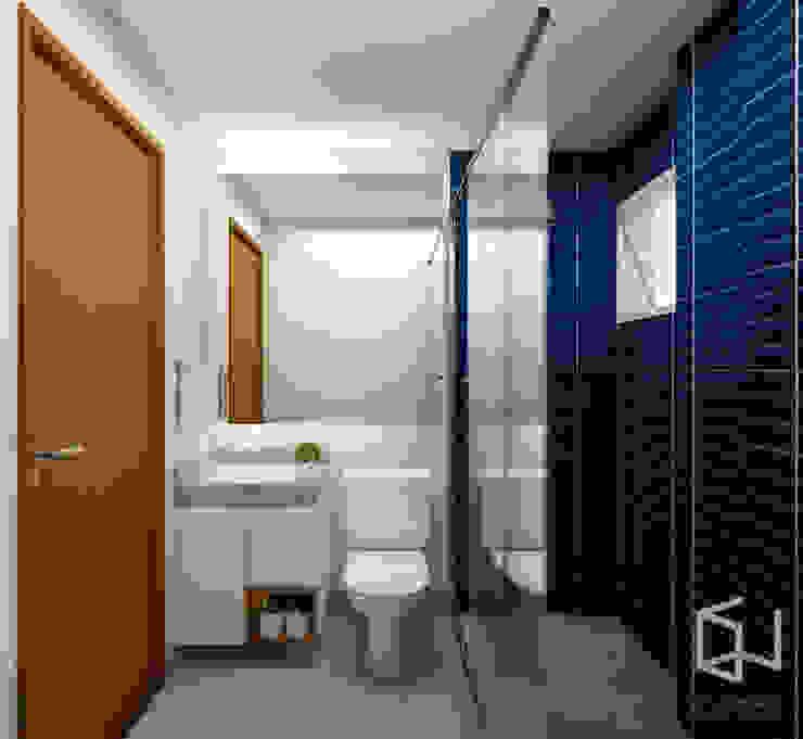 Studio Monfre Arquitetura Salle de bain industrielle Céramique Bleu