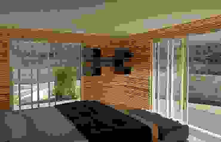 Egzotyczna sypialnia od Proyectonica Egzotyczny Drewno O efekcie drewna