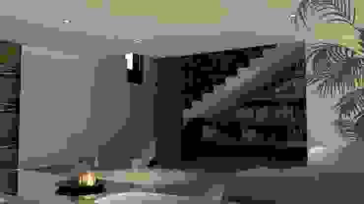 Escalera y librero V Arquitectura Pasillos, vestíbulos y escaleras modernos