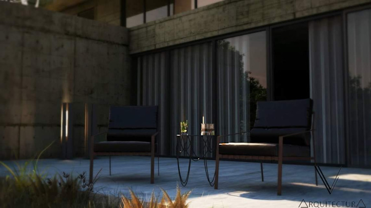 V Arquitectura Balkon, Beranda & Teras Modern Beton Grey