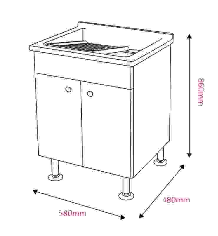 陽台用<人造石洗衣槽櫃>: 不拘一格  by 綋宜實業有限公司, 隨意取材風 塑膠
