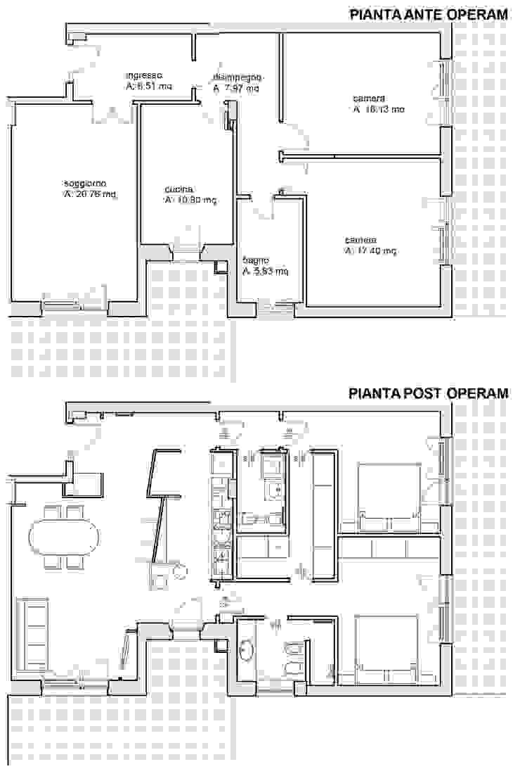 Casa 80 Mq Pianta pianta prima e dopo a confronto di arch. paolo pambianchi