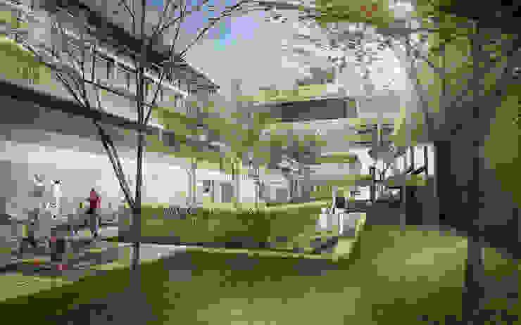 Plaza between therapy building and School Sekolah Tropis Oleh Sanny Yuwono Tropis