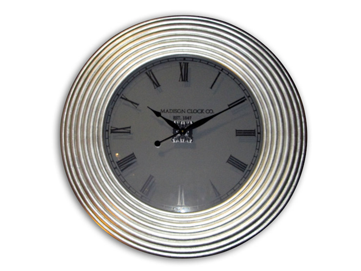 Kairos PU Wall Clock Glass Face Spiral Silver: modern  by Just For Clocks,Modern Ceramic