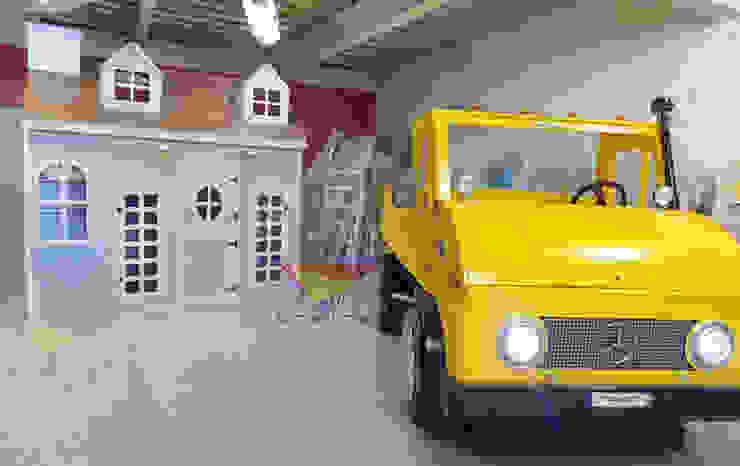 hermosa casita azul e impactante tractor de Kids Wolrd- Recamaras Literas y Muebles para niños Moderno Derivados de madera Transparente