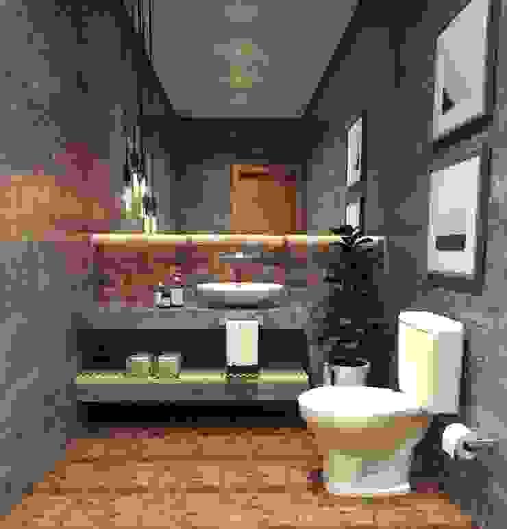 Imagem 01 Banheiros industriais por Caroline Berto Arquitetura Industrial Concreto