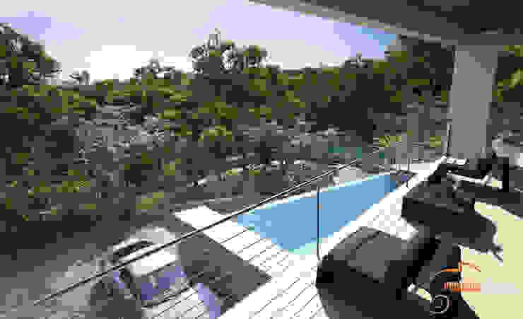 Perspectiva 3D de la entrada de la vivienda Realistic-design Villas