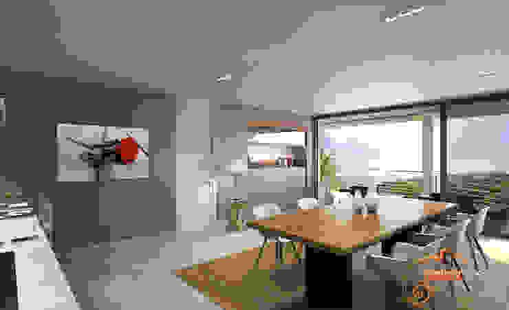Perspectiva 3D del comedor Realistic-design Comedores de estilo moderno