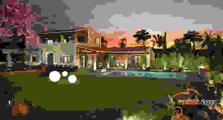 Perspectiva 3D de noche de la facahada trasera y piscina de Realistic-design Rústico