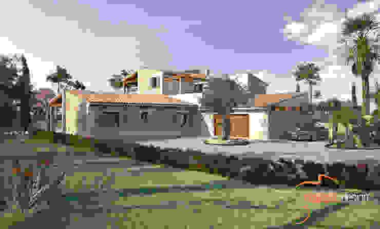 Perspectiva 3D de la fachada lateral de la vivienda Casas de estilo rústico de Realistic-design Rústico